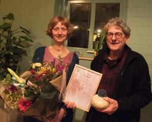 Peer Busink, winnaar van de Natuurprijs 2019, met zijn vrouw Corine Westerlaken. Foto Hannie Houben