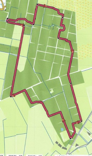 Wandeling vanaf abri midden op hondensport terrein Vios (onderaan kaart)